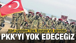 Kürt Şahinleri Tugayı Türk bayrağıyla görevde