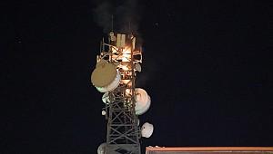 28 metrelik radyolink istasyonunda yangın
