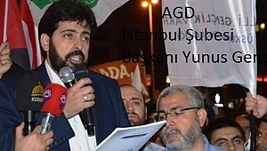 Anadolu Gençlik Derneği (AGD) İsrail'i kendi Konsolosluğu önünde protesto etti