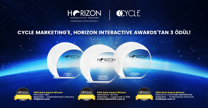 18. Uluslararası Horizon Interactive Awards'tan 3 ALTIN ödül!