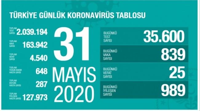 31 Mayıs koronavirüs tablosu! Vaka, ölü sayısı