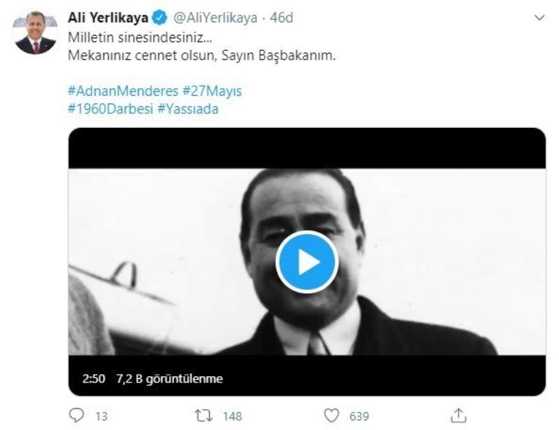 İstanbul Valisi Ali Yerlikaya'dan Adnan Menderes paylaşımı