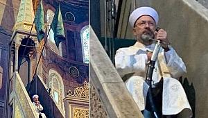 Ayasofya Camii'nde ilk hutbe: Ali Erbaş kılıçla çıktı