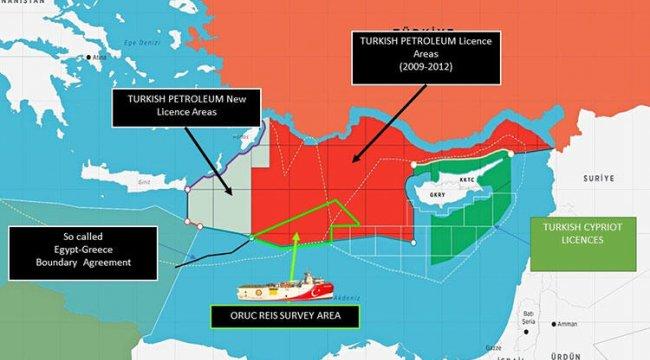 Bakanlık paylaştı: İşte Oruç Reis'in faaliyet sahasını gösteren harita