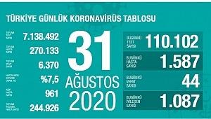 31 Ağustos koronavirüs tablosu! Vaka, ölü sayısı