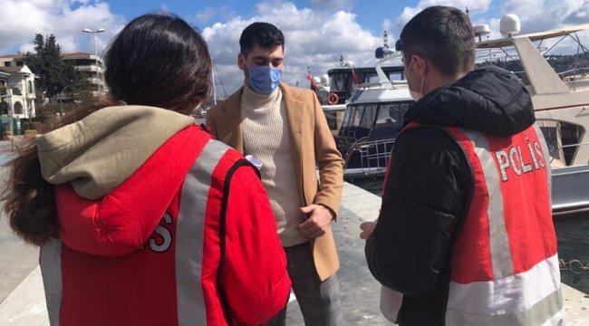 Beşiktaş Sahili'nde koronavirüs denetimi