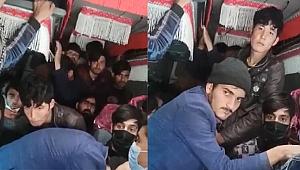 Ankara'da 17 kişilik minibüsten 40 göçmen çıktı