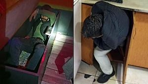 'Kırmızı' listedeki Konya'da akılalmaz görüntü! Polis baskın yapınca kanepe ve dolaba saklandılar