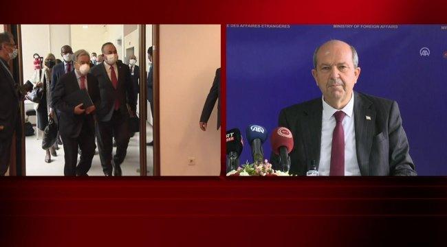 Son dakika.. Kıbrıs zirvesi sonrası Bakan Çavuşoğlu ve KKTC Cumhurbaşkanı Tatar'dan ortak açıklama