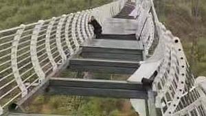 Turistin korku dolu anları! Cam köprü kırılınca mahsur kaldı