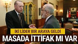 Cumhurbaşkanı AKP Genel Başkanı Erdoğan ile Saadet Partisi Genel Başkanı Karamollaoğlu Bir Araya Geldi