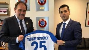 Yıldırım Demirören Erzurumspor Başkanı Üneş'le bir araya geldi