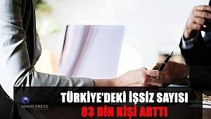 TÜRKİYE'DEKİ İŞSİZ SAYISI 83 BİN KİŞİ ARTTI